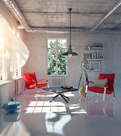 Moderne Loft-Innenraumkonzept Design (3d render) Standard-Bild - 35316172