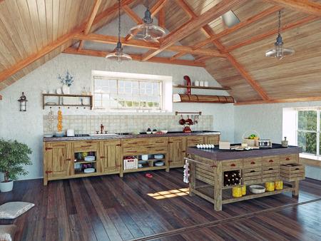 attic: modern kitchen interior with  island in the attic (3d design concept) Stock Photo