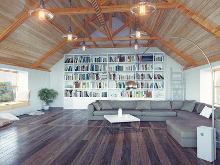 mooie moderne zolder interieur 3d ontwerp concept. Realistische DOF effect