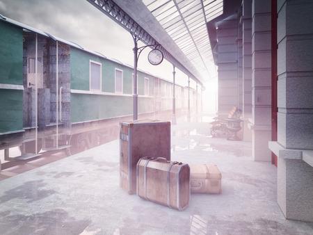 brouillard sur la rétro train gare .3D notion