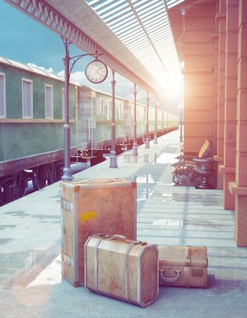 Un ensemble de bagages cru constitué de cas en cuir vieux, sur le quai d'une gare de chemin de fer rétro Banque d'images