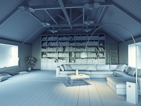 beautiful modern attic interior 3d design concept. Grayscale effect photo