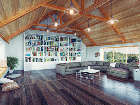 beautiful modern attic interior 3d design concept. Realistic DOF effect
