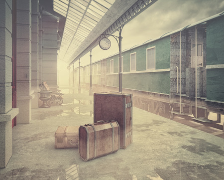 railway history: fog on the retro railway  train station .Vintage color style 3D concept