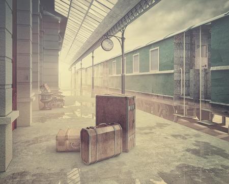 maquina vapor: niebla en la estación de tren de ferrocarril retro estilo de color .vintage concepto 3D Foto de archivo
