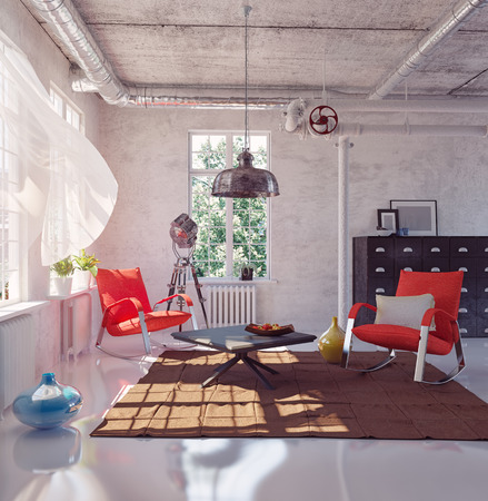 trendy: the modern loft interior concept design (3d render) Stock Photo