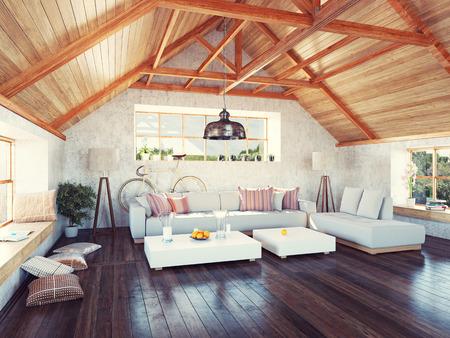 Schöne moderne Dachboden Innenraum. 3D-Design-Konzept. Standard-Bild - 35926568