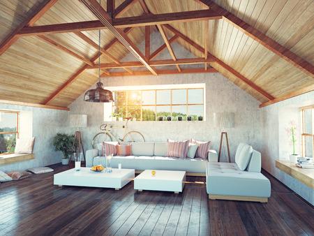 美しいモダンな屋根裏部屋のインテリア。3 d デザイン コンセプト。