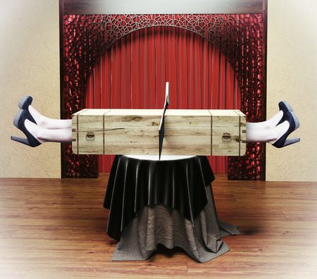 danger box: Magician sawing a woman with a saw. Photo combination concept