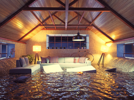flooding  modern interior loft in the evening. 3d concept design. Фото со стока