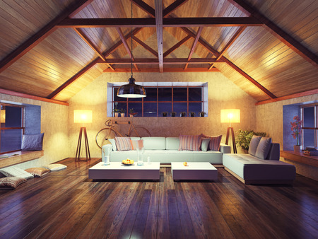 wooden furniture: beautiful modern interior loft in the evening. 3d concept design.