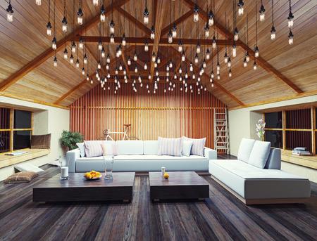 mooi modern interieur loft in de avond. 3d concept design.