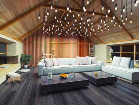 living room furniture: beautiful modern interior loft in the evening. 3d concept design.