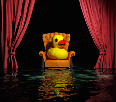 Gummi-Ente auf dem Luxus-Ledersessel und rote Vorhang vor Überschwemmungen Interieur (3D)