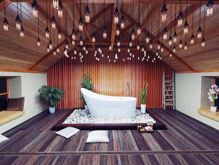 夜の屋根裏部屋で美しいお風呂。3 d デザイン コンセプト