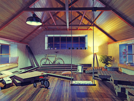 attic: old attic interior with swing. 3d concept