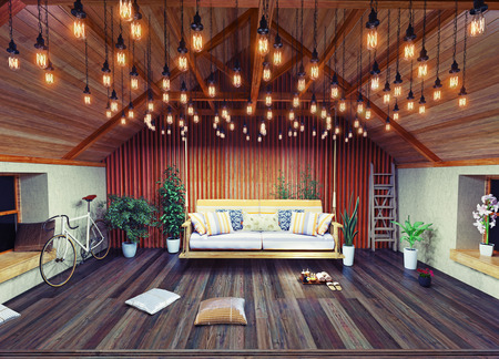 vintage timber: hanging sofa in the attic interior, decorated  with vintage lamps. 3D design concept Stock Photo