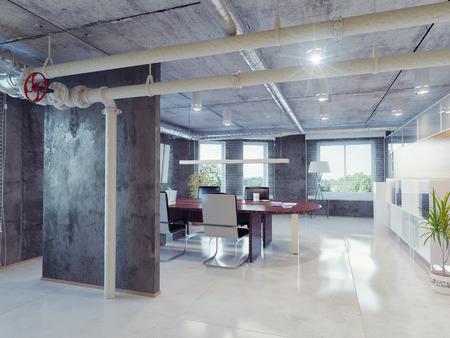 bureau design: int�rieur moderne de bureau en mezzanine. Design Concept 3d