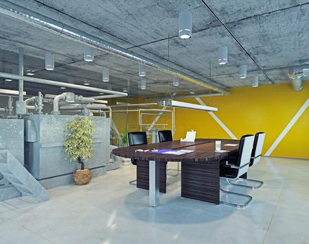 モダンなロフト オフィスのインテリア。3 d デザイン コンセプト