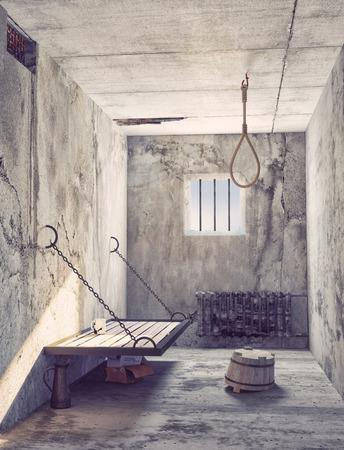 cellule de prison: Suicide noeud coulant à l'intérieur de la cellule de prison. 3d cocept Banque d'images