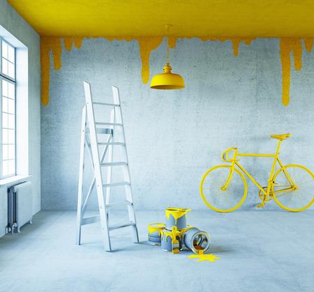 intérieur blanc avec le concept ceiling.3d peint