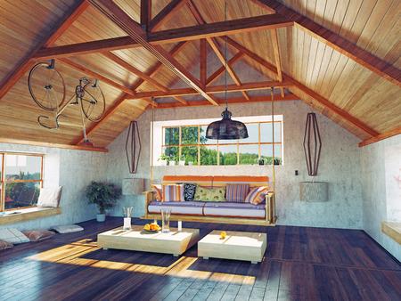 掛かるソファーが付いている美しい近代的な屋根裏部屋のインテリア。3 d デザイン コンセプト。