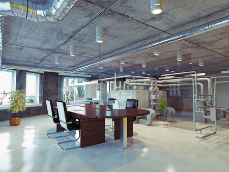 interior design office: modern loft office interior. 3d design concept