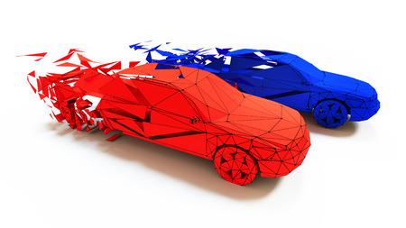 Low-poly style car race. 3d concept photo