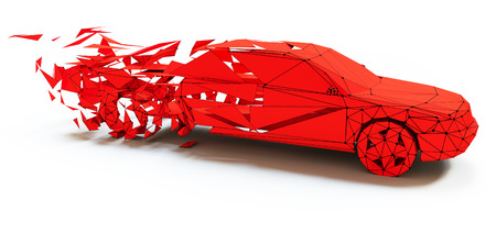 low tire: Low-poly style moving red car . 3d concept
