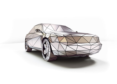 low tire: isolated chrome low-poly style car. 3d concept