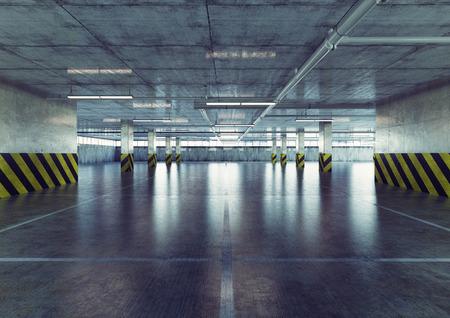 都市の空の駐車場。3 d コンセプト