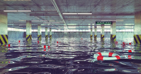 flood area: flooding parking lot. 3d concept