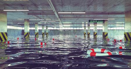 car park interior: flooding parking lot. 3d concept