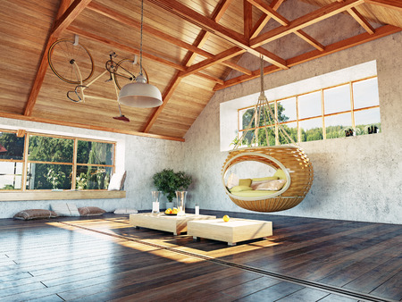beautiful modern attic interior with hanging sofa. 3d design concept. Фото со стока