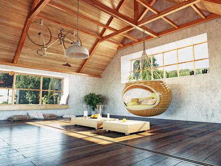 beautiful modern attic interior with hanging sofa. 3d design concept. Stock Photo