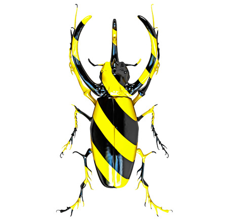 hercules: rhinoceros beetle, painted in black and yellow stripes. 3D concept Stock Photo