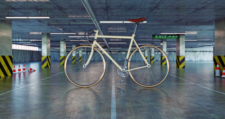 bike parking: giant bicycle in parking. 3d concept
