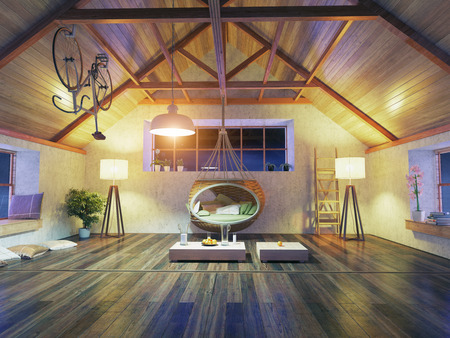 wooden house: beautiful modern attic interior with hanging sofa. 3d design concept. Stock Photo