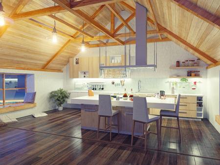 屋根裏部屋で島と近代的なキッチン インテリア (3 d デザイン コンセプト) 写真素材