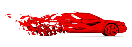 line design: Low-poly style moving red car. 3d concept Stock Photo