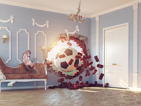 break in: soccer ball break wall in the luxury room. 3d creative concept Stock Photo