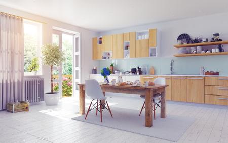 modern kitchen domestic home house: modern kitchen interior. 3d design cocept.