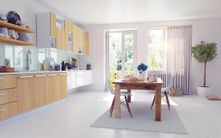 moderne keuken interieur. 3d ontwerp cocept.