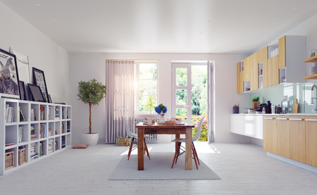 モダンなキッチン インテリアです。3 d デザイン計画。 写真素材