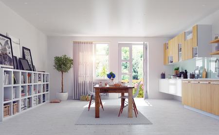 Moderne Küche Interieur. 3d design cocept. Standard-Bild - 40865881