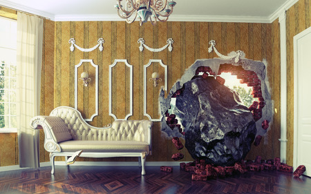 improbable: Meteorite enters the room. Photo combination creative concept Stock Photo
