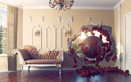 sloopkogel de kamer binnenkomt. 3d creatief concept