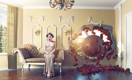 enters: wrecking ball enters the room, scaring the woman on the sofa. Photo combination creative concept