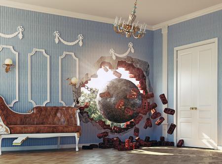 공을 부수고은 방에 들어갑니다. 3 차원 창의적인 개념
