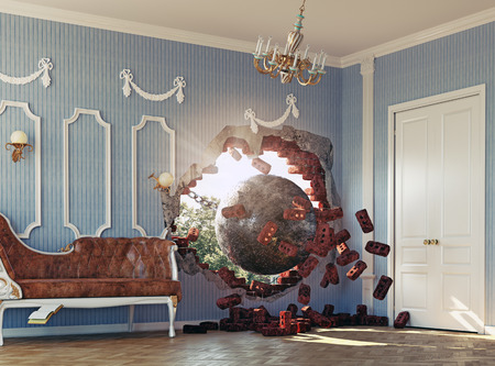 wrecking ball enters the room. 3d creative concept